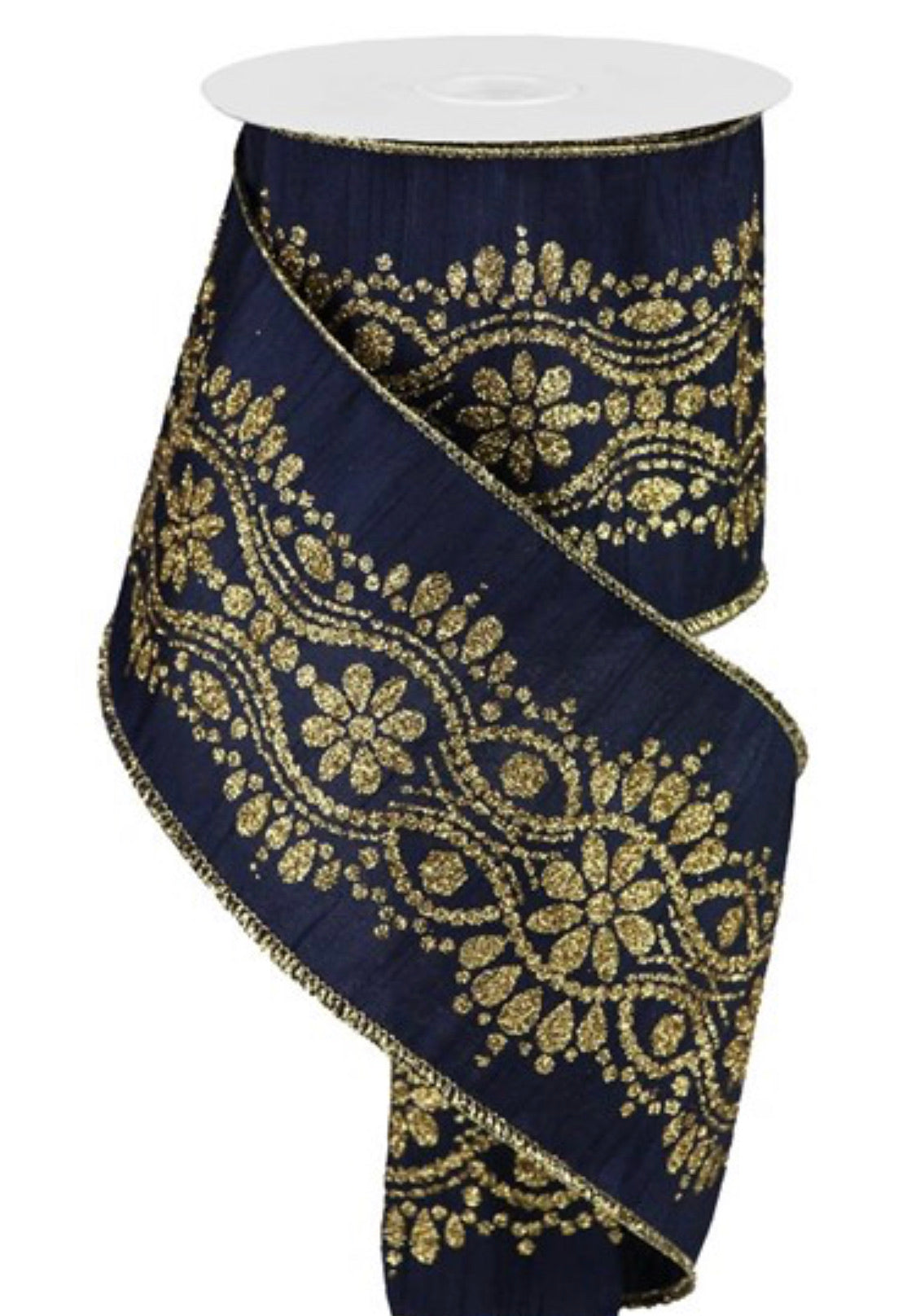 "Navy blue with luxurious gold center 4"" ribbon"