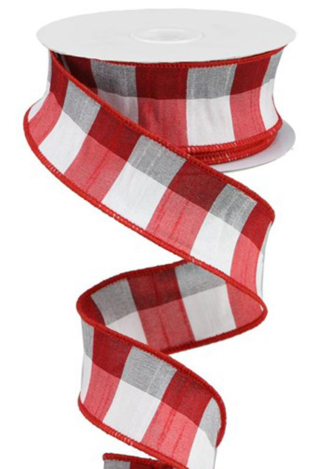 "White, red, and black faux dupioni plaid 1.5"" - Greenery Market"