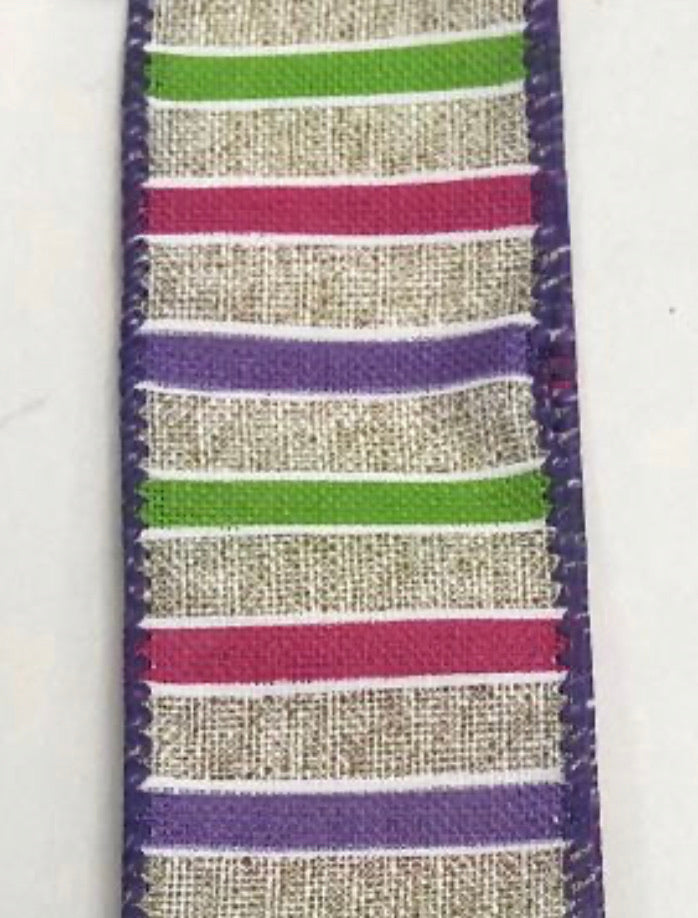Purple lime green and fuchsia pink stripe 1.5""