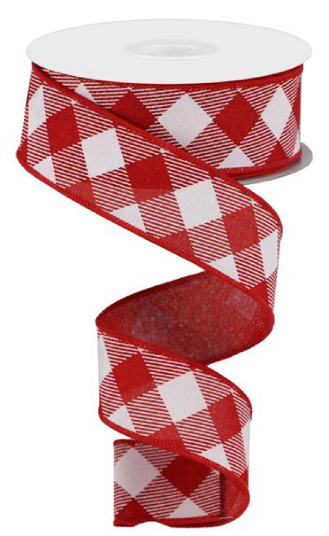 "Red And white diagonal plaid wired ribbon, 1.5"" - Greenery Market"