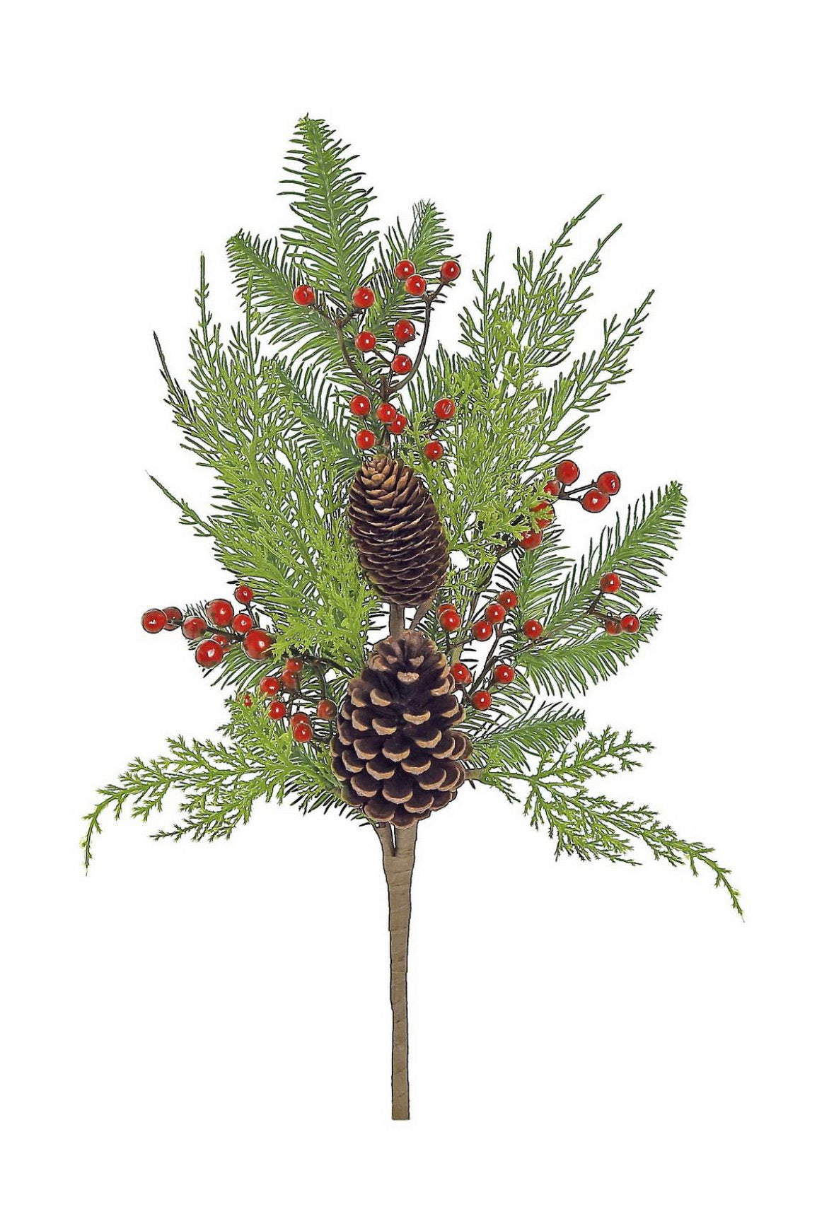 Mixed Christmas pine greenery with berries