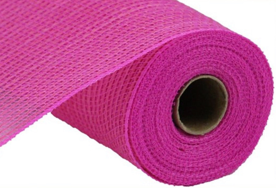 Hot pink deco mesh, pink poly Faux jute deco mesh 10""