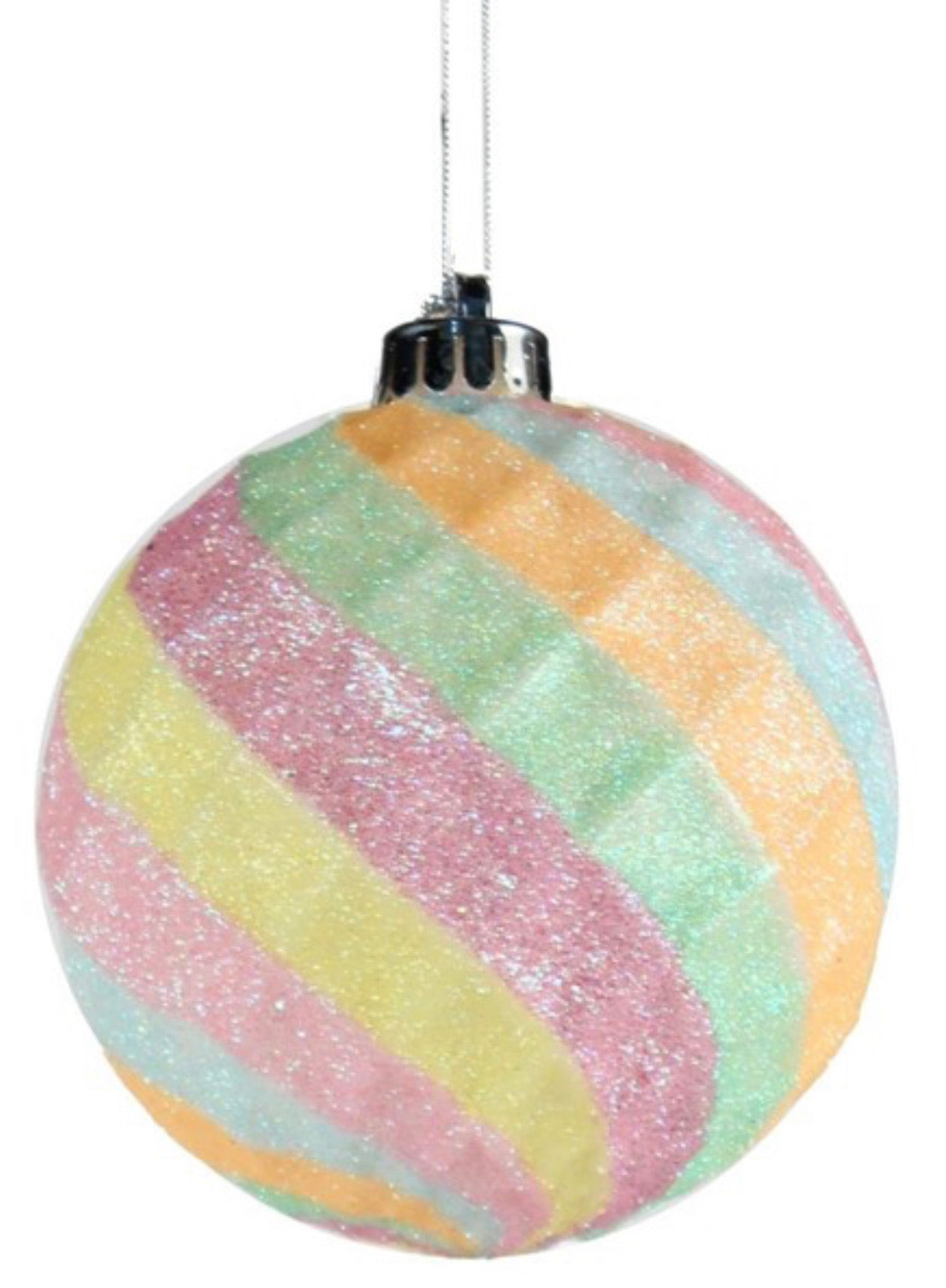 Pink mint multi colored diamond ball ornament 100mm
