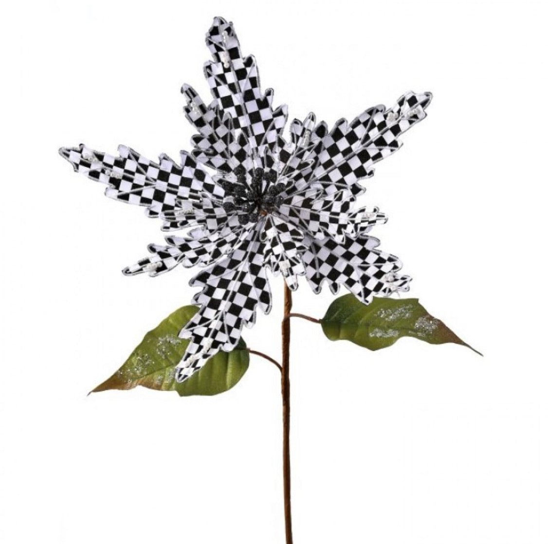 Harlequin poinsettias - black and white with pearls