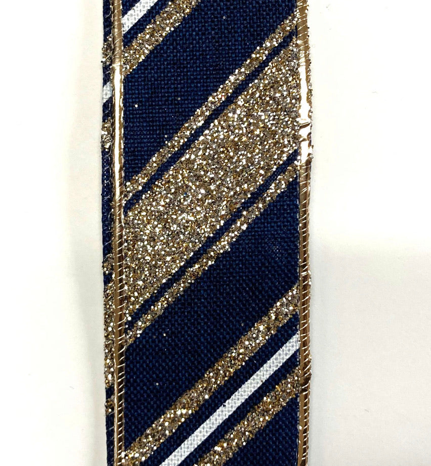 Navy with champagne stripes wired 1.5""