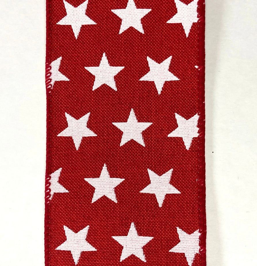 "White Stars on red wired ribbon 2.5"" - Greenery Market"