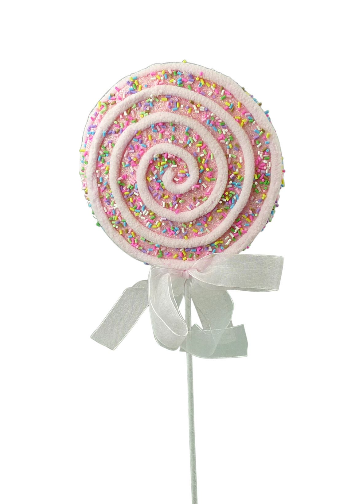 Pink chenille trim lollipop with sprinkles