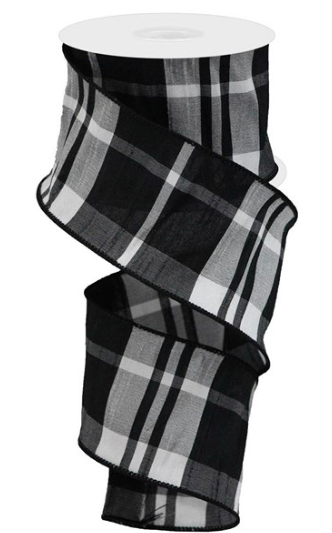 Black and white plaid faux dupioni 2.5""