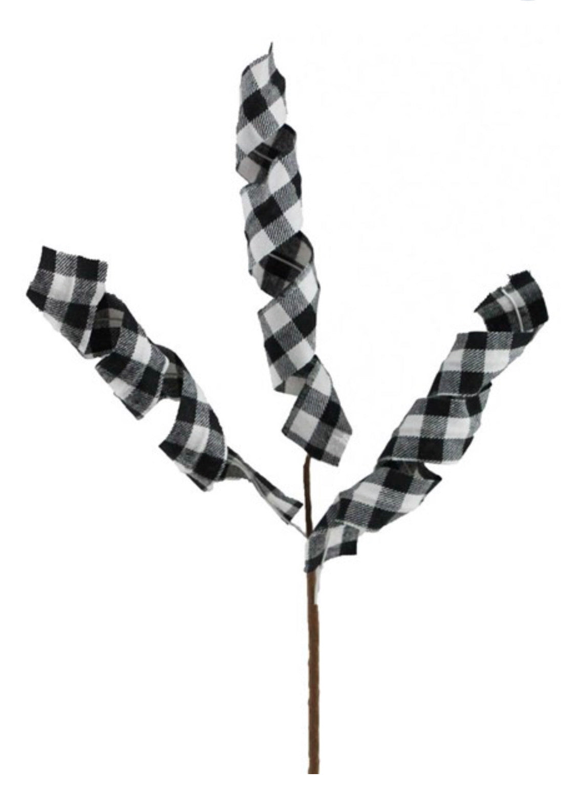 Black and white check wired ribbon spray