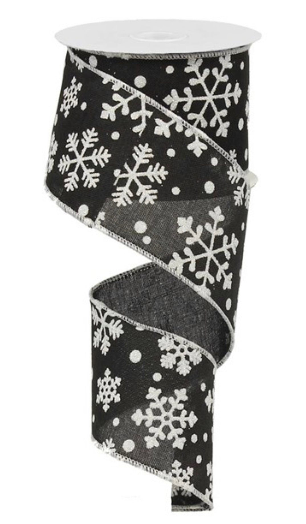 "Snowflakes ribbon 2.5"" white and black"