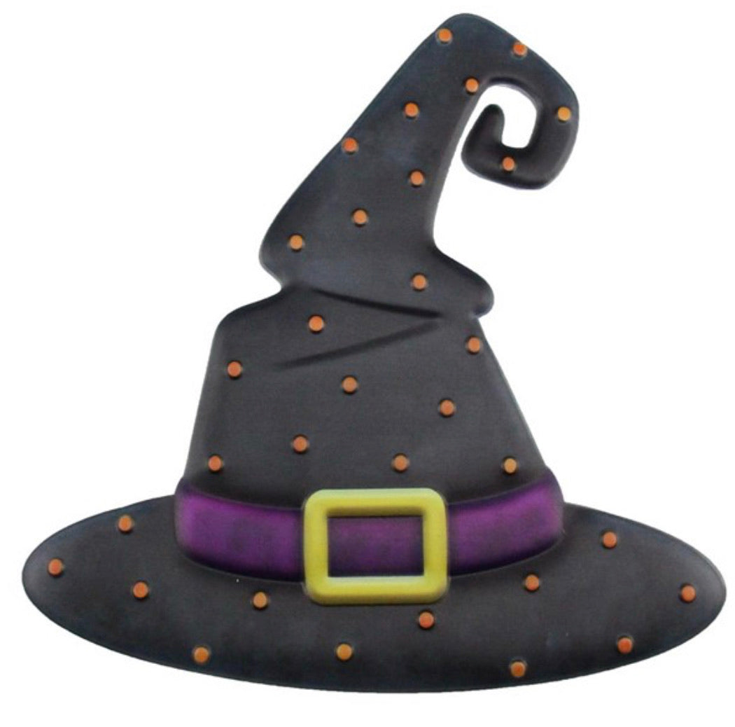 Witch hat - metal Halloween sign