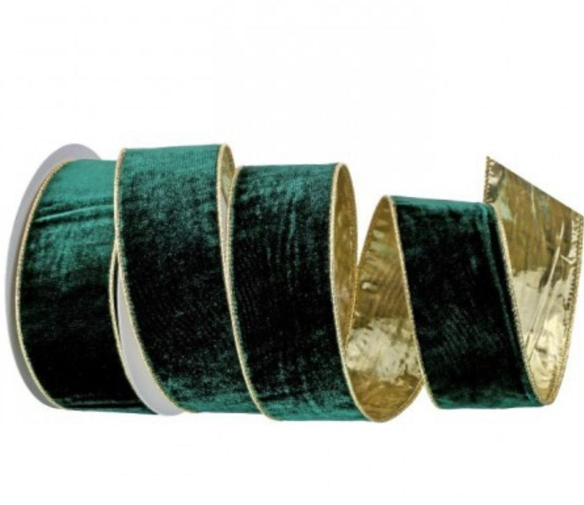 hunter green velvet ribbon with gold backing - 2.5""
