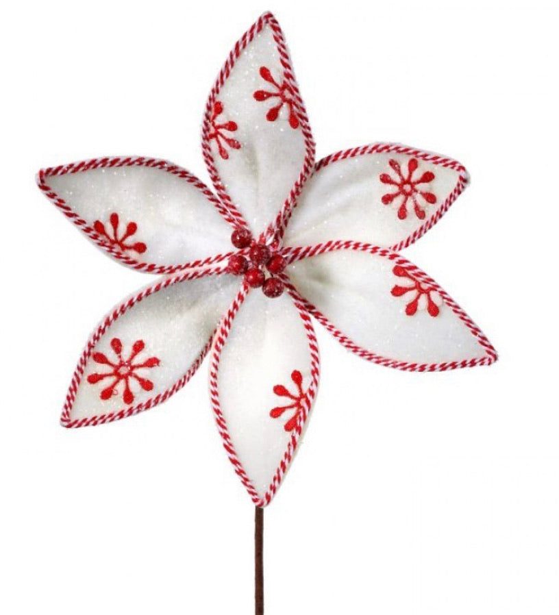 Frosted Felt candy cane poinsettia stem