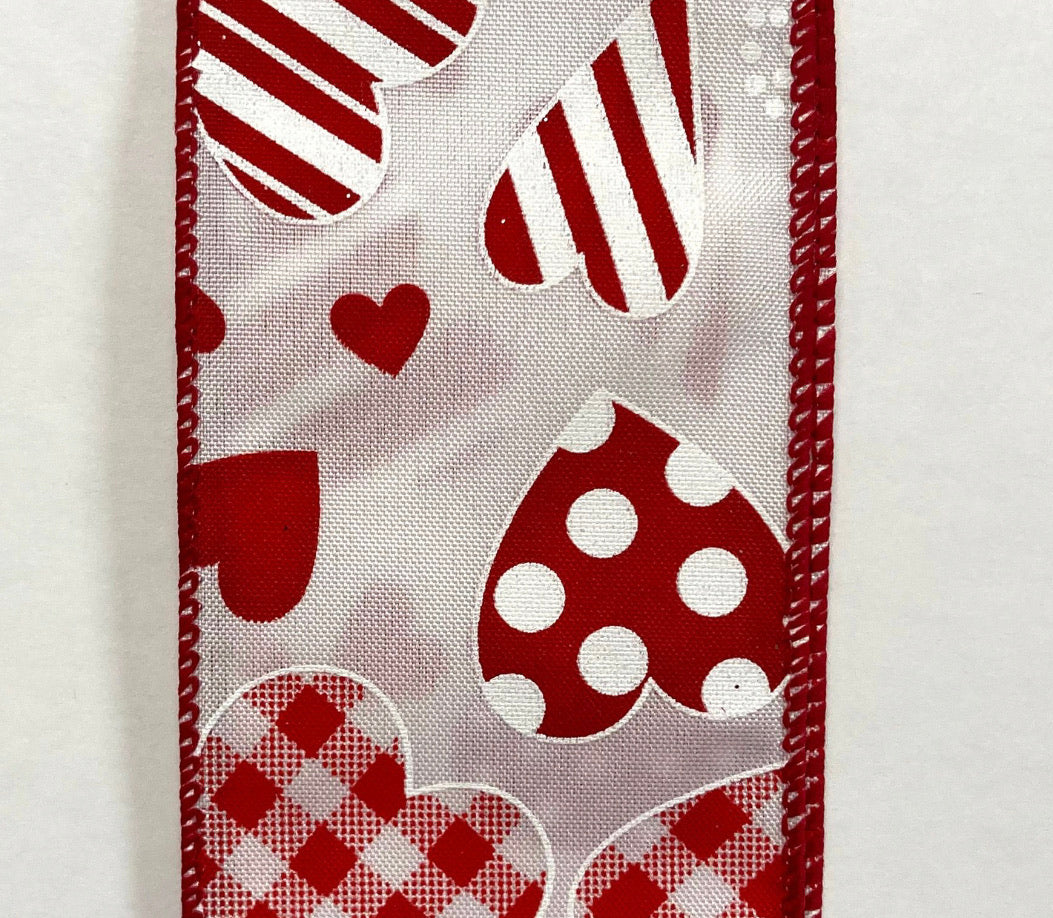 "White multi sized hearts 2.5"" wired ribbon"
