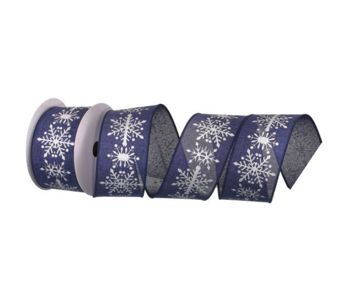 Blue wired ribbon with silver/gray snowflakes 2.5""