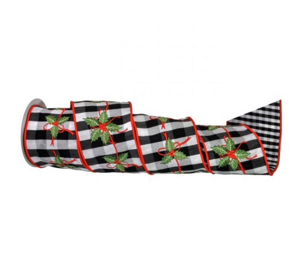 "Black and white 4"" plaid holly ribbon - double sided check"