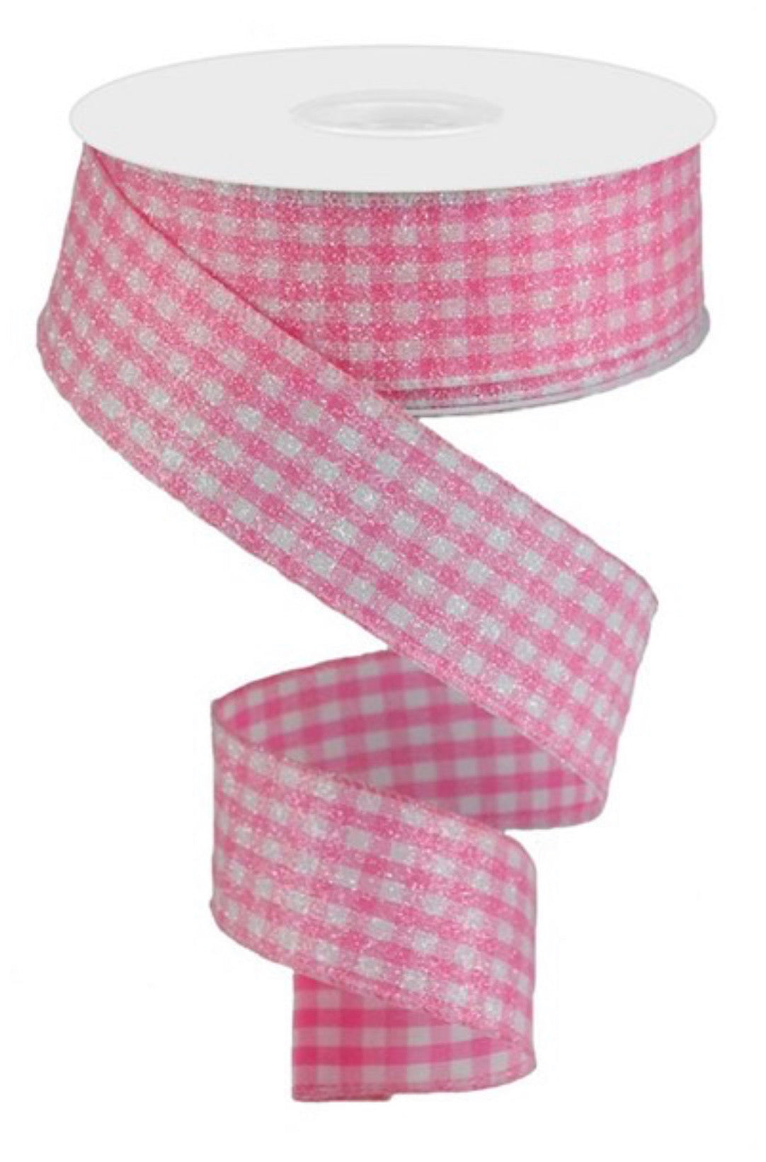 "Pink And white ""iced"" gingham plaid wired ribbon, 1.5"""
