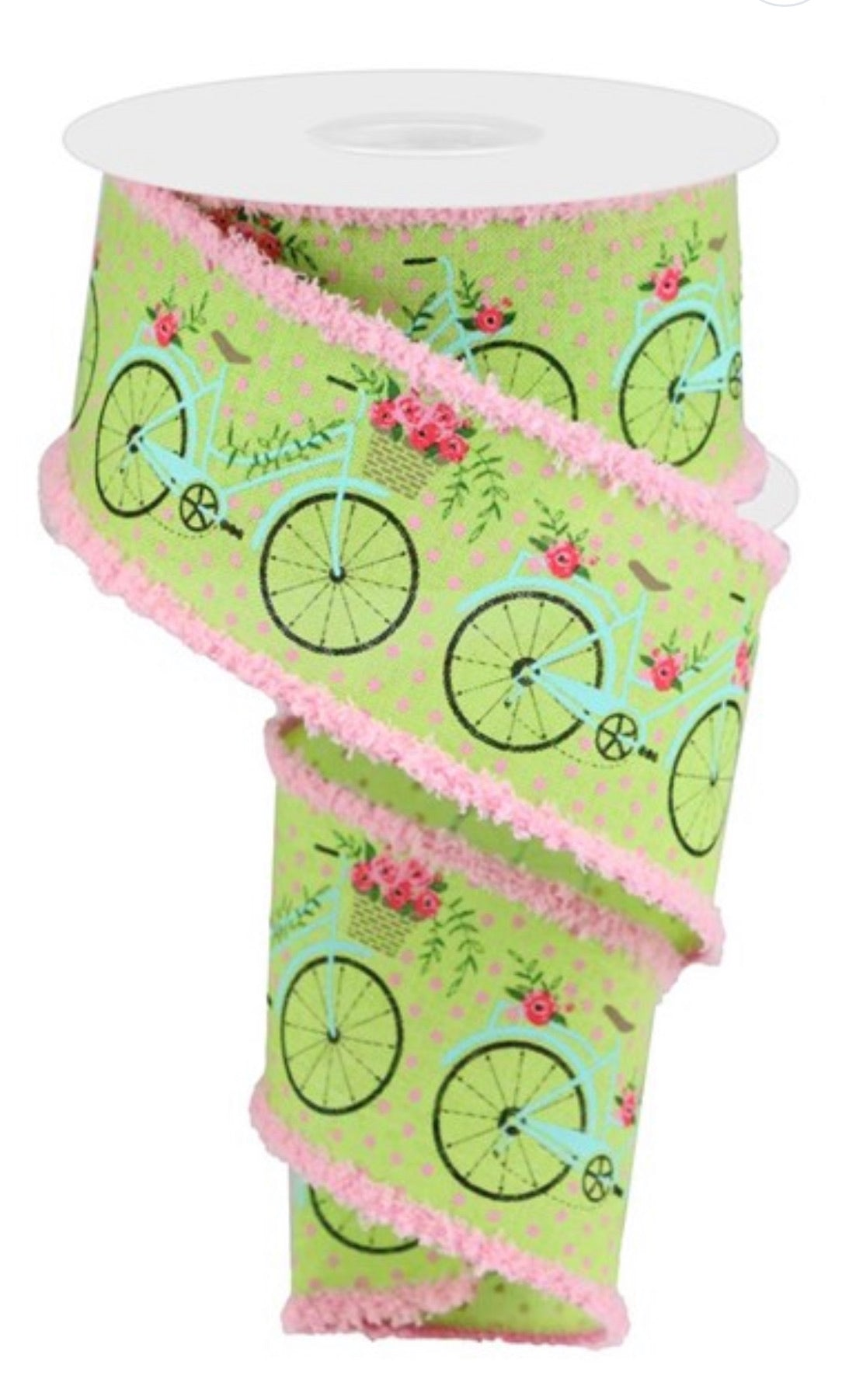 "Lime green 2.5"" Bike ribbon with drift - Greenery Market"