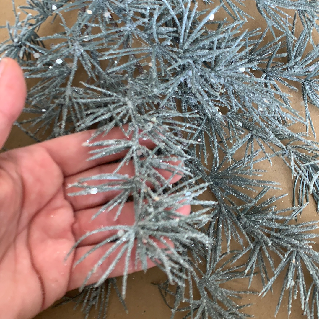 Frosted gray blue pine spray with sparkle