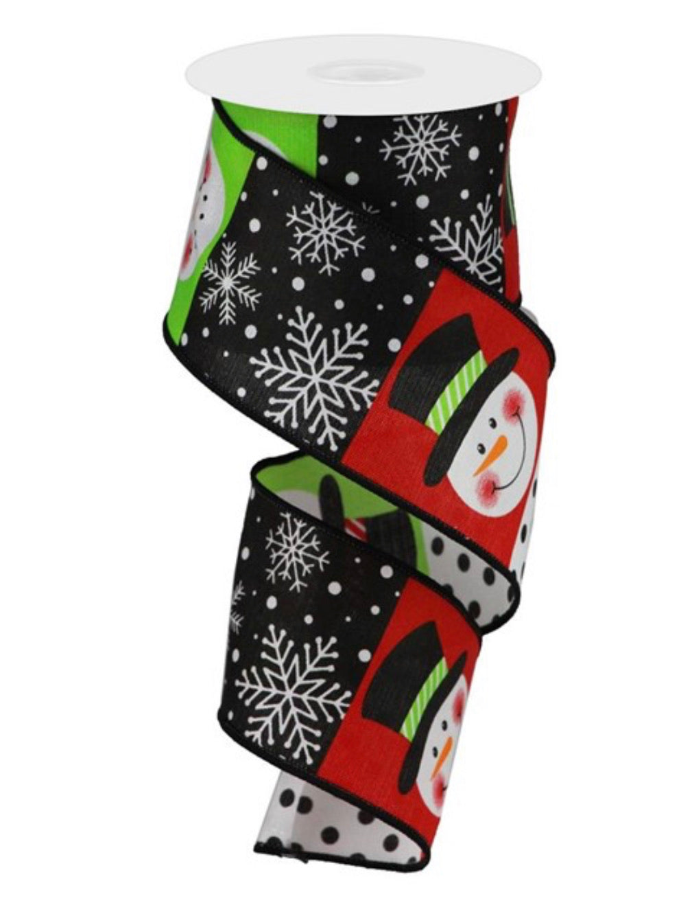 "Snowman ribbon 2.5"" red and black blocks"