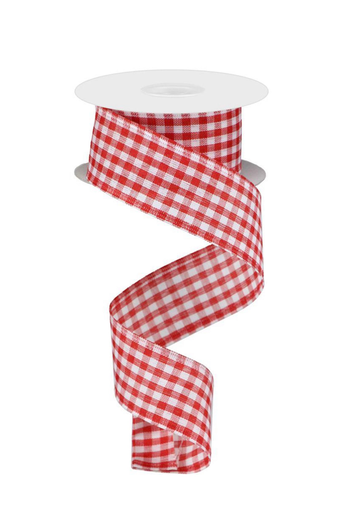 Red And white gingham plaid wired ribbon, 1.5""