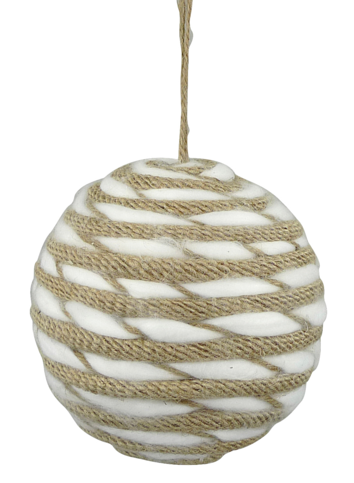 Jute and chenille cotton ball ornament