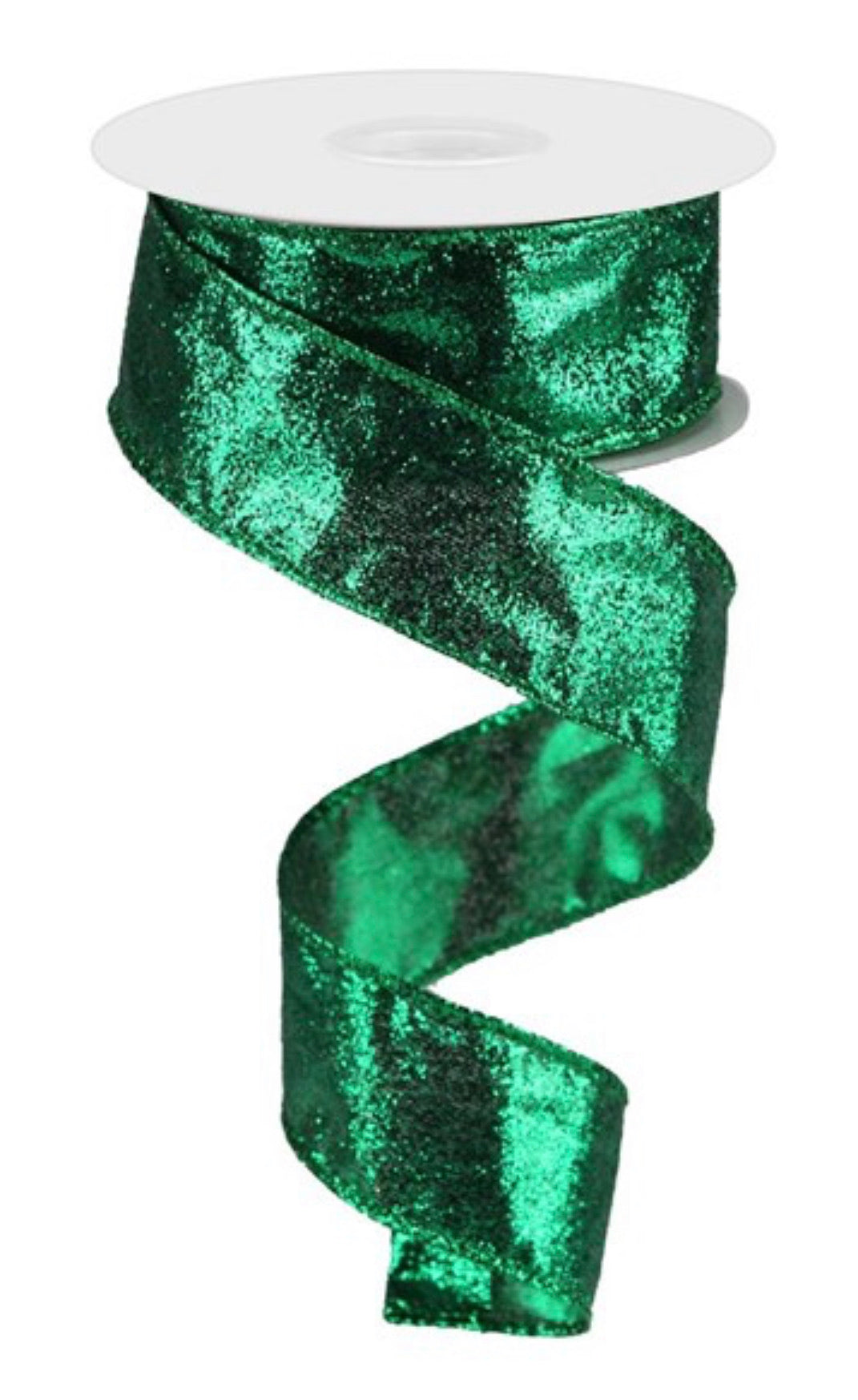 green with glitter, emerald green ribbons 1.5""