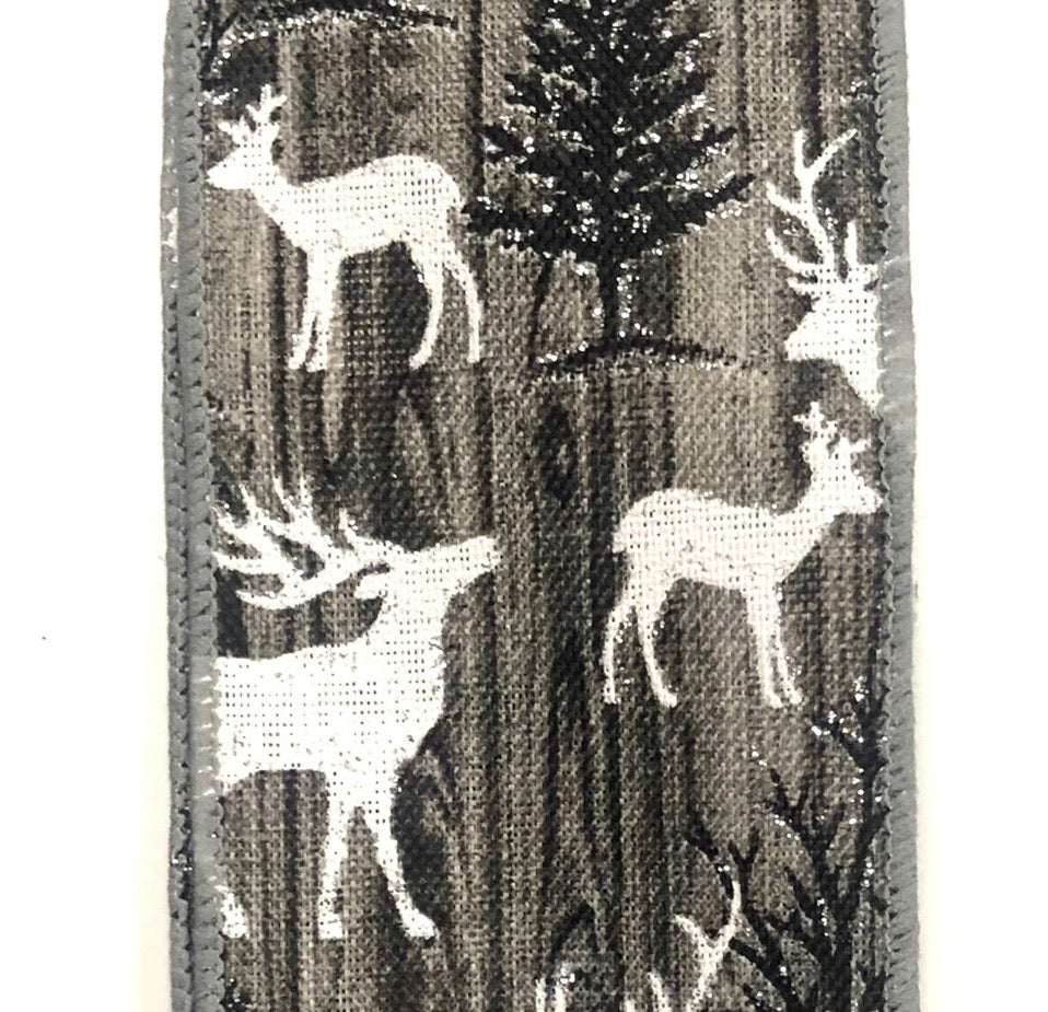 White Deer winter ribbon with pine trees
