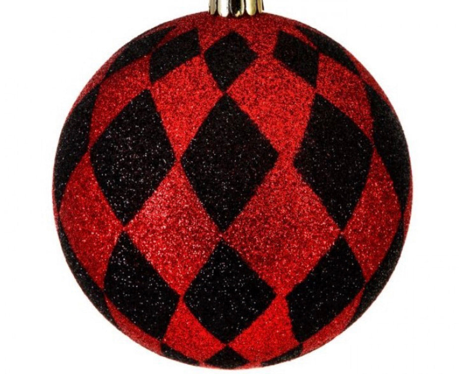 Harlequin ornaments red and black