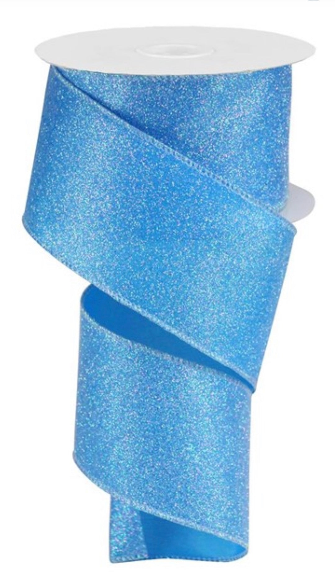 Blue iridescent glitter wired ribbon 2.5""
