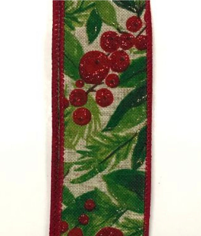 "Christmas berries - emerald, lime, red 1.5"" wired ribbon"