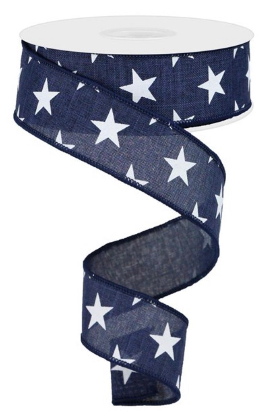 "Stars on navy blue wired ribbon 1.5"" - Greenery Market"