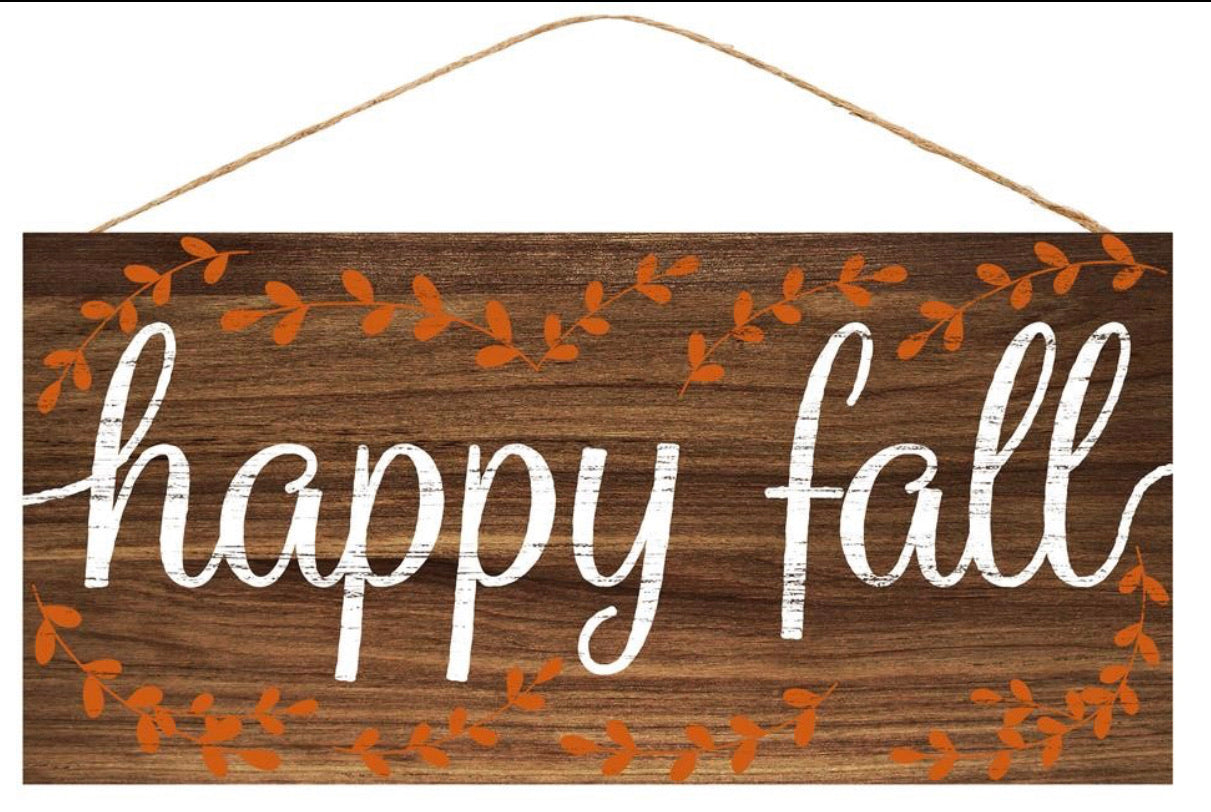 Happy fall faux wood sign