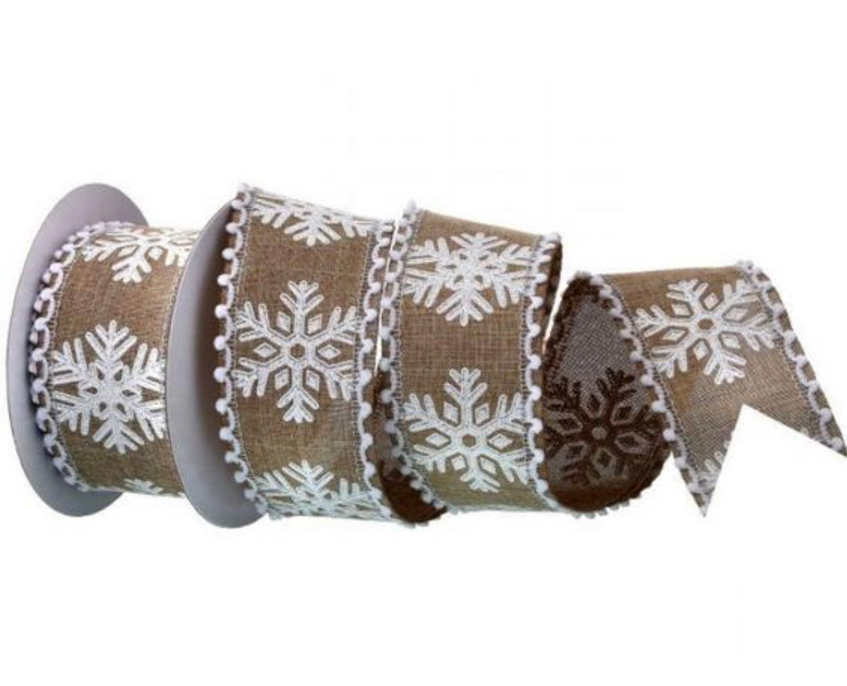 Jute and white glittered snowflakes ribbon with Pom Pom edge