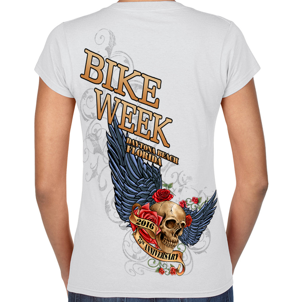 Ladies 2016 Bike Week Rose Skull V-Neck Tee