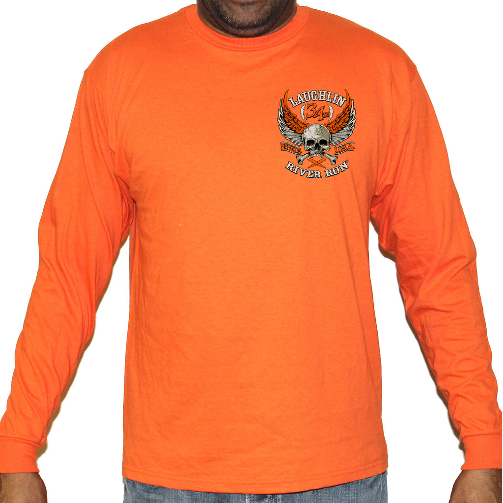 2016 Laughlin Orange Skull Wings Long Sleeve Shirt