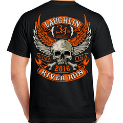 2016 Laughlin Orange Skull Wings T-Shirt