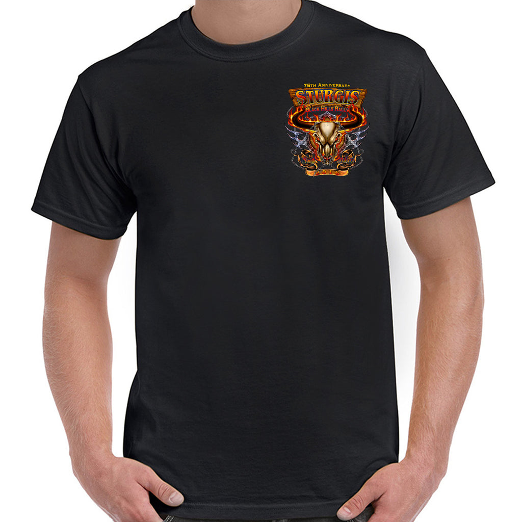 2016 Sturgis Flaming Cow Skull T-Shirt