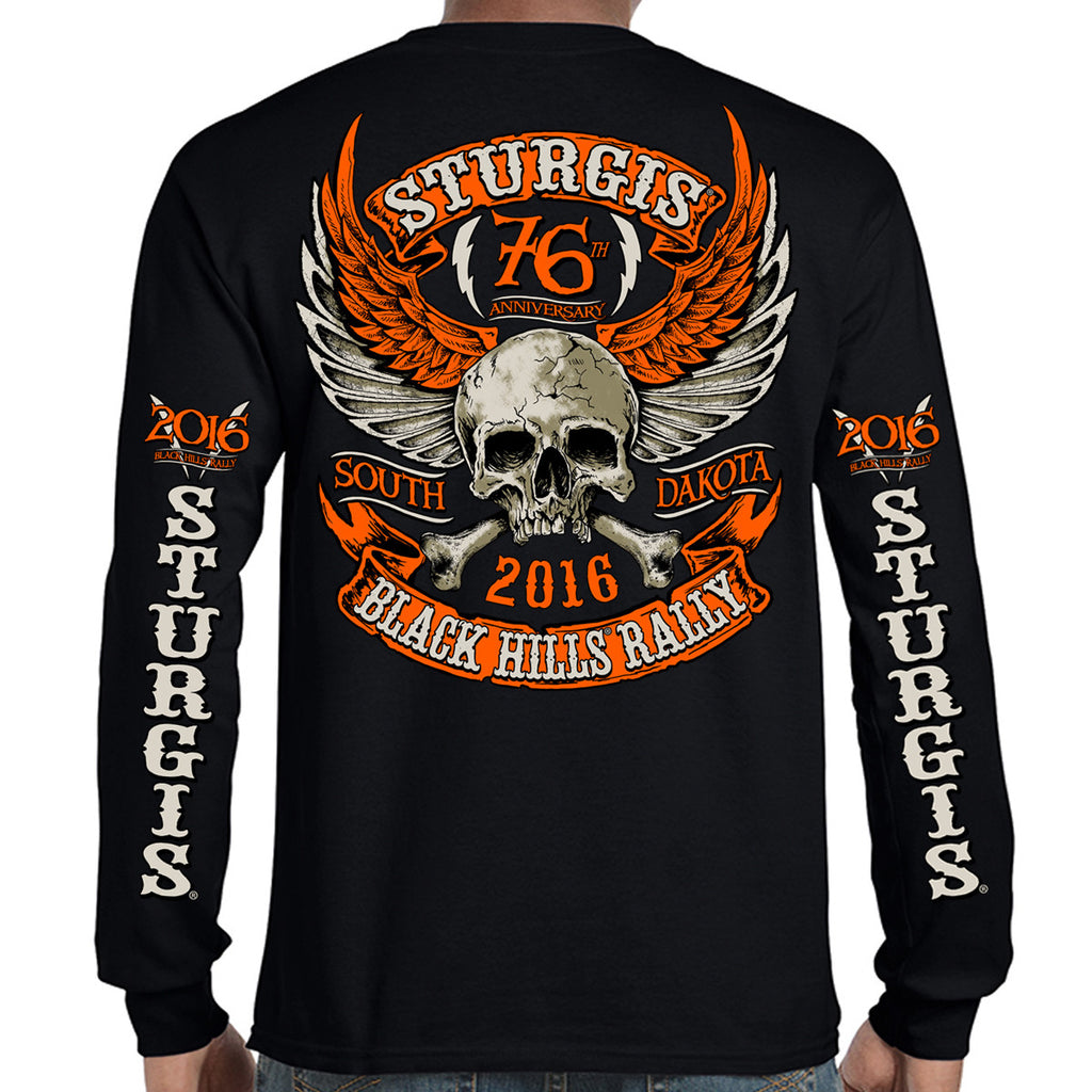 2016 Sturgis Orange Skull Wings Long Sleeve Shirt