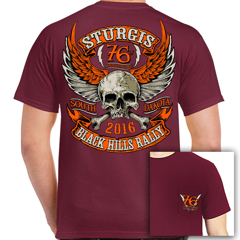 2016 Sturgis Orange Skull Wings Pocket T-Shirt