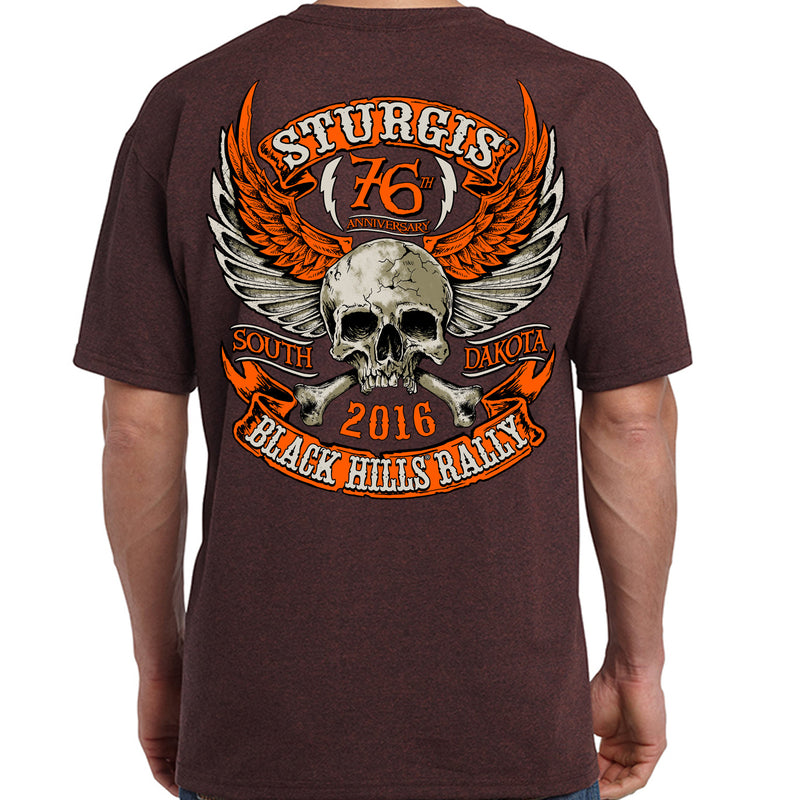 2016 Sturgis Orange Skull Wings T-Shirt