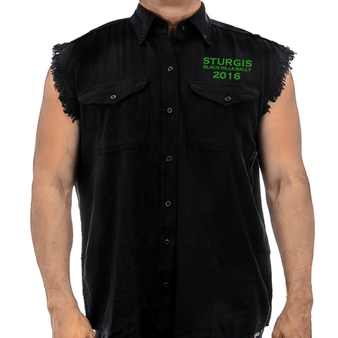 2016 Sturgis UR Here Cutoff Denim Shirt