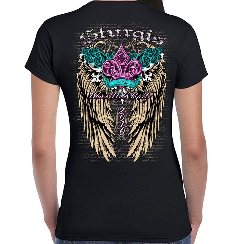 2016 Sturgis Ladies Fleur De Wings Cap Sleeve Tee