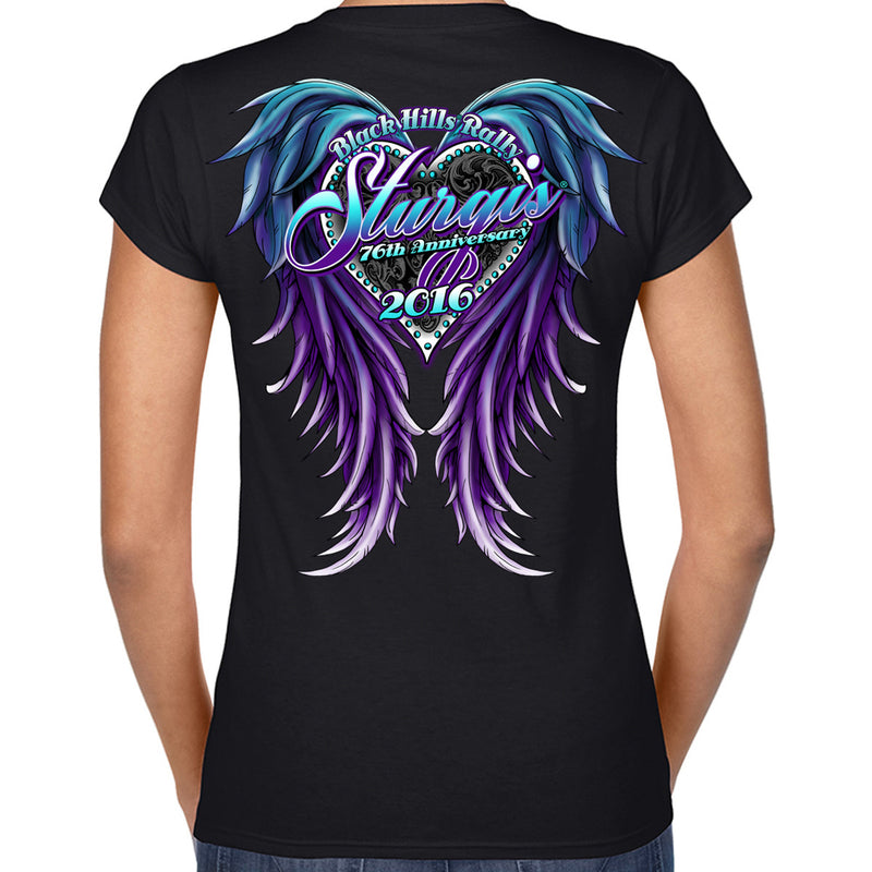 Ladies 2016 Sturgis Purple Wings Front and Back Screen Printed V-Neck Tee