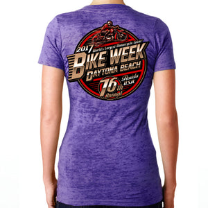 Ladies 2017 Bike Week Daytona Beach Official Logo Burnout V-Neck T-shirt