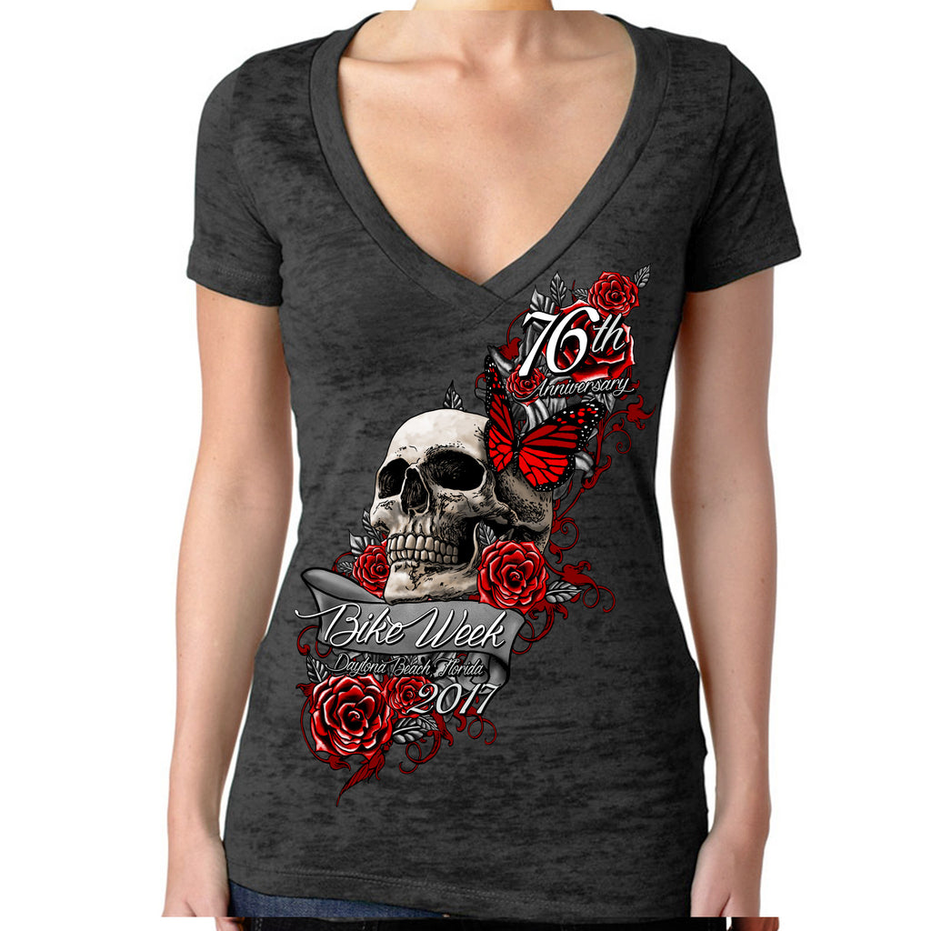Ladies 2017 Bike Week Daytona Beach Butterfly Rose Skull Burnout V-Neck T-shirt