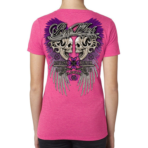 Ladies 2017 Bike Week Daytona Beach Rebel Skulls V-Neck T-shirt