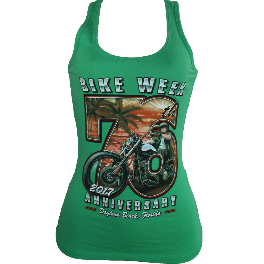 Ladies 2017 Bike Week Daytona Beach Beach Biker Racerback Tank Top
