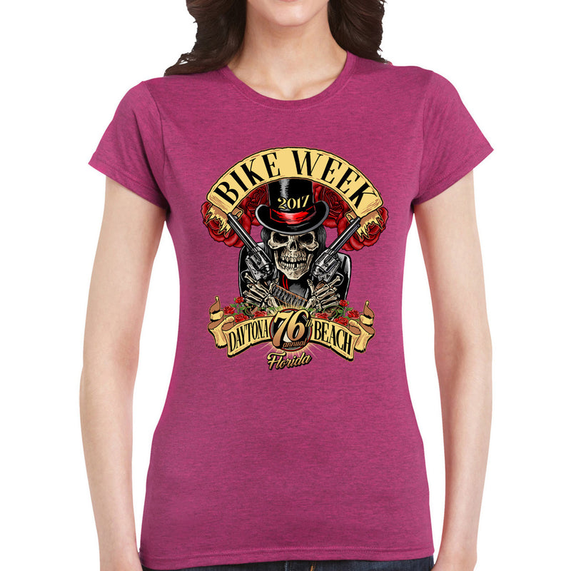 Ladies 2017 Bike Week Daytona Beach Roses N' Guns Crew Neck Tee
