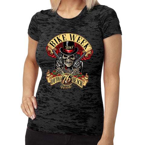 2017 Ladies Bike Week Daytona Beach Roses N' Guns Burnout T-Shirt